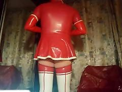 Maid in red latex