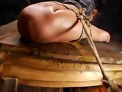 Wooden Horse cum clothes bondage slave rub clothes domination