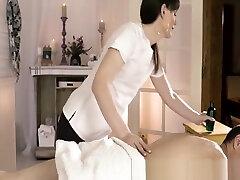 Ass fucked tranny Natalie Mars gives massage and footjob