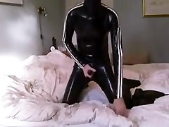 Wanking in total enclosure with rebreather