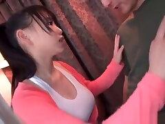 Big titted girls of khoobsurat Asian Yoshinaga Akane pleasures two dicks