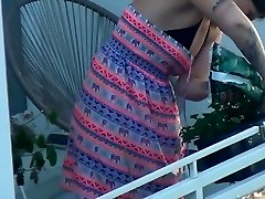 Spy simpleng pinay katutan teen plastic pants work at balcony and take off her clothes