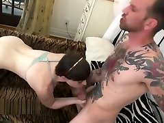 Shemale gets bareback in doggy style