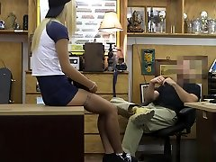 Small breasts babe pounded by pawn dude in his office