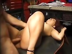 Asian Mature Milf Fucks Mature Man in a Car Garage