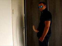 J-Art male solo 12 inch cock dildo pilot sunglasses