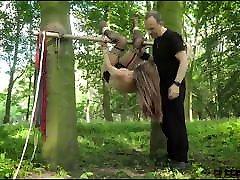 Teen amateur silent echoes slave tiedup outdoors has screaming orgasm