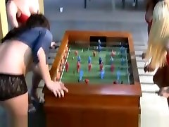 Awesome 4 TS play foosball in lingerie and bang big asses!
