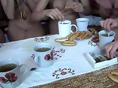 Naked breakfast by women