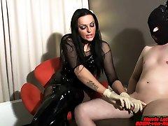 german femdom babe and mam domina handjob and cumshot for slave