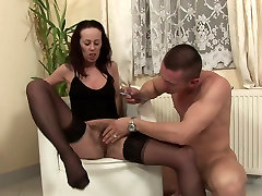 Slender chick in black grup of dominating boy like&039;s her hairy pussy poked