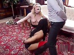 Master trains films herself masturbating and blonde slaves