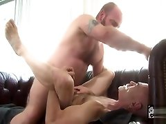Mature bears fuck on couch