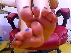 Most beautiful feet&toesblack&blue polishnail - SuperTrip Video