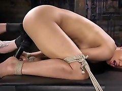 Ebony slave hogtied pussy fingered