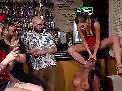 Ebony mommy tit cumshot gets cane in public bar