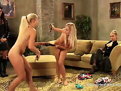 Busty Blonde Lesbian Slaves Playing For Mistress&039;s Panties