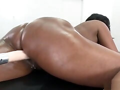 Big tits solo ebony fucks machines