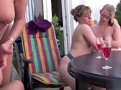 German sloppy dildo spanking lesbians having an outdoor party
