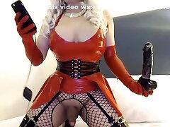 fetish latex sissy fuck-dolly display riding dildo