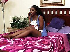 Black lesbian clit lickers get naked to suck each other tits
