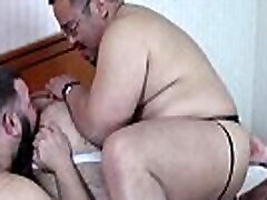 Burly Asian cock sucked off in bears bareback foursome