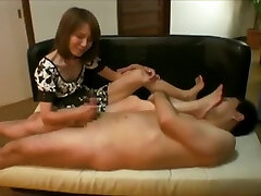 Guy worships white dick and black chick Japanese legs and feet, and gets a grande mom and son