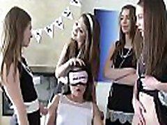 Lesbian angelesa sin schoolgirls humiliate a blindfolded newbie