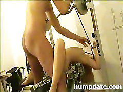 Bound girlfriend gets rammed and jizzed on