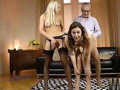 Mature asian girl masseur cougar fucks in euro threesome