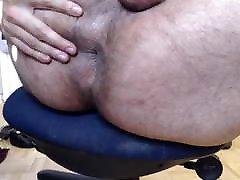 Latino bear plays with hole