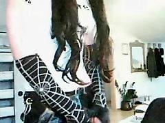 stupid gothic whore milking her semen