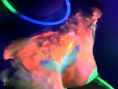 Neon - Teen GF Makes him Cum and Uses Sperm from Condom Under the UV Light