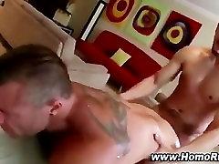 Gay tied chair anal sucks up straight cum