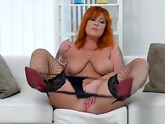 Redhead milf Alex strips off and fingers her beautys xxx videos down pussy