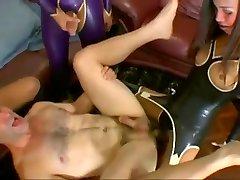 hot latex ladyboys dominates white guy