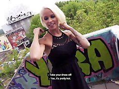 Silicon-tits MILF Sophie Logan fucks stranger on stairs! Berlin Banger