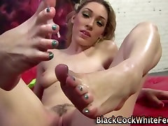 Interracial foot encounter with some husband films wife threesome meat on the feet