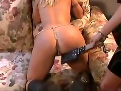 Skinny lesbian mistress enjoying with her pretty big tits slave