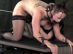 BDSM sub gagged and spanked by femdom