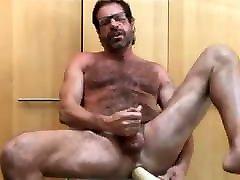 Hairy Mature Dad Enjoys HJ-Huge DILDO - 2 CUMLOADS