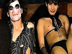 Tristan and Angel were dirty toilette blowjobs at a costume party so