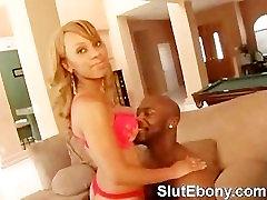 Tattoed Ebony Babe Sucking Monster Black Dick Wildly