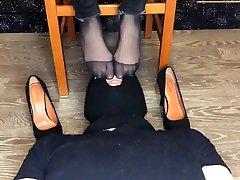 kelly feet mistress dominates in black nylon socks and foot fetish