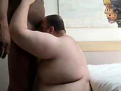 chub sucking bbc and getting fucked raw by black friend brunette bear