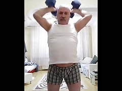 Moustached Turkish Daddy wank beach people watch Working Out