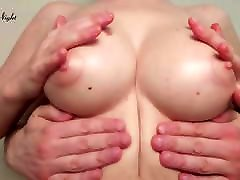Couple Sensual Caress Beautiful Tits before Bedtime