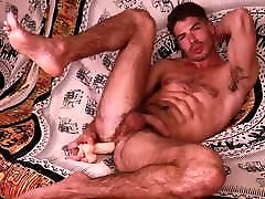 Hairy bear muscle with dildo nocum
