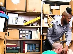 Black LP Officer makes two young perp fuck each other