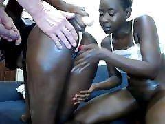 WC BJ - 2 Black lesbian girls lick, suck each other.